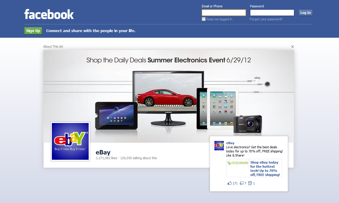 eBay's Facebook homepage takeover ad